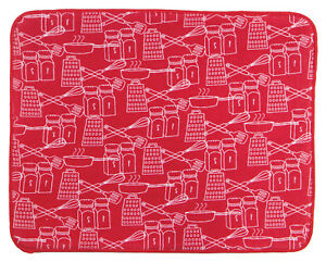 Kay Dee Designs Red and White Microfiber Dish Drying Mat
