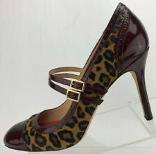 ed19abb49074 Kate Spade New York Pumps Burgundy Brown Leopard Mary Jane Heels Italy  Womens 9B