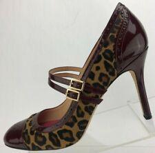 Kate Spade New York Pumps Burgundy Brown Leopard Mary Jane Heels Italy Womens 9B