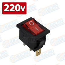 Interruptor ON OFF con luz 220v ROJO rectangular cuadrado SPST 6A 220v
