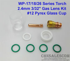 """9 pcs TIG Welding Stubby Gas Lens #12 Pyrex Cup Kit  for Tig WP-17/18/26 3/32"""""""