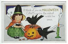 1920's Whitney Halloween Postcard Unused Witch Crow Carved Pumpkin Embossed