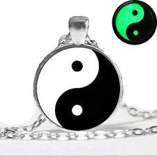 UK GLOW IN THE DARK YIN YANG NECKLACE Jewellery Gift Idea Spiritual Symbol Boho