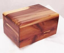 Small aeromatic cedar pet cremation urn - handmade wood urn. Simple top