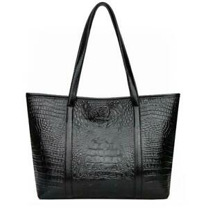 Retro Crocodile Leather Women Handbag Large Capacity Shoulder Shopping Bag TN2F