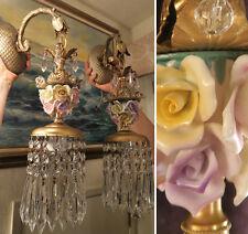 PAIR Sconce Brass porcelain cabbage Rose barbola Beaded vintage lamp lighting