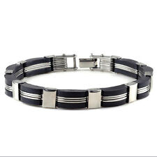 Mens Silver Black Stainless Steel Rubber Bracelet Bangle Wristband Cuff Chain