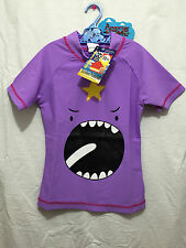 BNWT Girls Sz 8 Lumpy Space Princess Cute Purple Short Sleeve Rash Vest UPF 50+