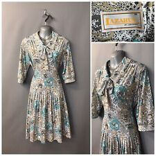 Lazarus Of London White Mix Floral Pleated Vintage Dress UK 18 EUR 46