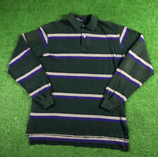 Vintage Polo Ralph Lauren Rugby Long Sleeve Striped Purple Green L