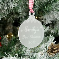 Baby's First Christmas Bauble. Personalised Newborn Tree Decoration Gift, Frost.