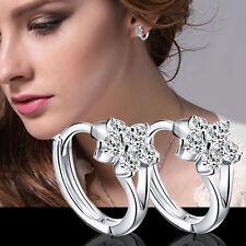 Moda Joyería Copo De Nieve Cristal Aretes Earrings Ear Stud Oreja