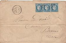 Lettre/Cover France n°60 Bande de 3 Nolay (Cote D'or) 1873