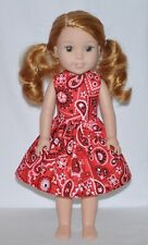 Red Bandanna Doll Dress Clothes Fits American Girl Wellie Wisher Dolls