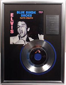 "ELVIS PRESLEY - Blue Suede Shoes 7"" Platin Schallplatte RCA Record ( goldene )"