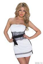 Edles Trägerloses  Minikleid Kleid mit Spitze Gr. 34 / 36 / 38 S M Weiß Schwarz
