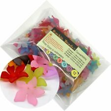 150 Frosted Mix Lily Flower Acrylic Beads Bead 28mm (1-1/8 Inch)