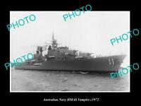 OLD POSTCARD SIZE AUSTRALIAN NAVY PHOTO OF THE HMAS VAMPIRE SHIP c1972