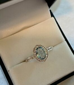 White and Smokey Blue Topaz Ring on Rhodium Plated Band Size 8