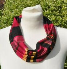 Snood/cowl Scarf in viscose jersey abstract multi pink yellow maroon black green