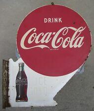 Vintage 1949 Coca Cola 2 Sided Metal Flange Sign **RARE ORIGINAL**