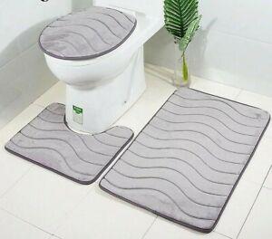 3D Embossed STYLE BATH MAT PEDESTAL SET NON SLIP TOILET BATHROOM RUGS 3 PIECE