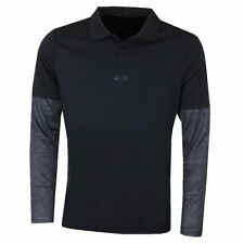 Oakley Mens Contrast Printed Long Sleeve 3 Button Golf Polo Shirt 56% OFF RRP