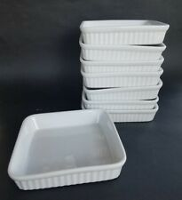 8 Set Dansk International Small Square Dessert Plate Ribbed Plain White