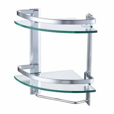 Wall Mounted Aluminum Bathroom 2-Tier Shower Glass Corner Shelves w/ Towel Bar