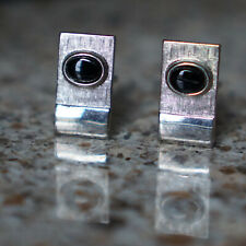 Silver Modernist Art Deco Nouveau Cufflinks Men's Vtg Park Lane Cuff Links Onyx