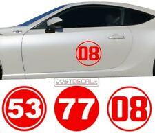 Race Rally Number # Circle Racing Sticker Decal door roof hood window 77 7 vinyl