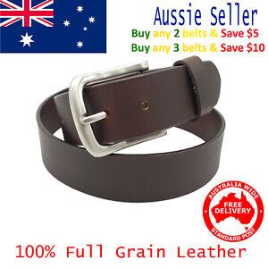 New 39mm Full Grain Cowhide Premium Quality Plain Brown Leather Men's Jeans Belt