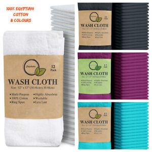 12 x Cotton Face Cloths Flannels Wash Cloths 100% Egyptian Cotton Soft 30 x 30cm
