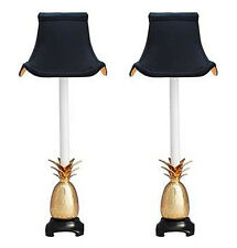 """PAIR OF PINEAPPLE BUFFET LAMPS - POLISHED BRASS WITH BLACK PAGODA SHADES - 21""""H"""