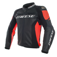 GIACCA IN PELLE DAINESE RACING 3 LEATHER JACKET BLACK/BLACK/FLUO-RED - 1533788