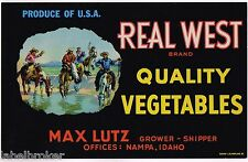 CRATE LABEL VINTAGE IDAHO STATE NAMPA 1950S ADVERTISING COWBOYS LUTZ WESTERN