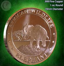 "African Wildlife ""Elephant"" 1 oz .999 Copper Round"