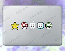 Super Mario 8bit Power Ups Color Vinyl Sticker for Macbook Air/Pro