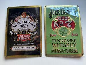 2 X JACK DANIELS METAL SIGNS - PLAQUE TIN HOME PUB BAR WALL DISPLAY TWO LEGACY