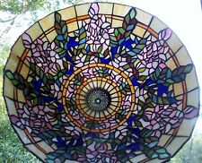 "LARGE 20"" TIFFANY STYLE STAINED GLASS FLORAL WISTERIA LAMP SHADE AS IS"