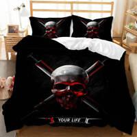 Wonderful Virulence Of Skulls 3D Quilt Duvet Doona Cover Set Pillow case Print