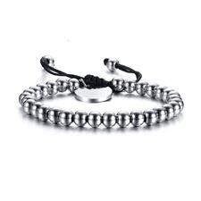 Men Women's Stainless Steel Balls Nylon Rope Bracelet Wedding Adjustable Bangle