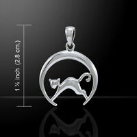 Cat on Crescent Moon .925 Sterling Silver Pendant by Peter Stone