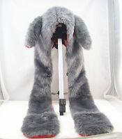 Bunny Full Hood Hoodie Fur Animal Hat Mittens Scarf 3 IN 1 Cap
