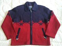 Bernardo Essentials Womens Wool Sweater Coat Jacket zip Navy/Burgundy Snowflake