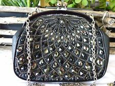 BRIGHTON NWT  Anju Coinette Black Leather Jeweled Beaded Evening Bag - 2 STRAPS