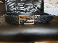 Fendi Black Leather Belt / Gold Buckle