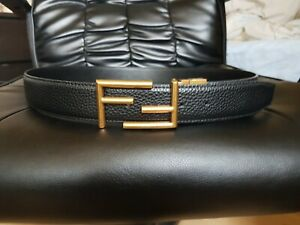 Fendi Black Leather Belt / Gold Buckle