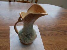 McCoy Vintage Ewer Pitcher Handled Vase  Grape Leaf Design Agua & Brown Late40's