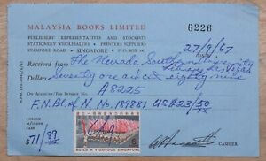 Mayfairstamps Singapore 1967 Books Revenue Stamped Receipt wwp10275